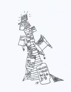 La lecture en évolution. Dessin de Paco Djelloul, 5°6